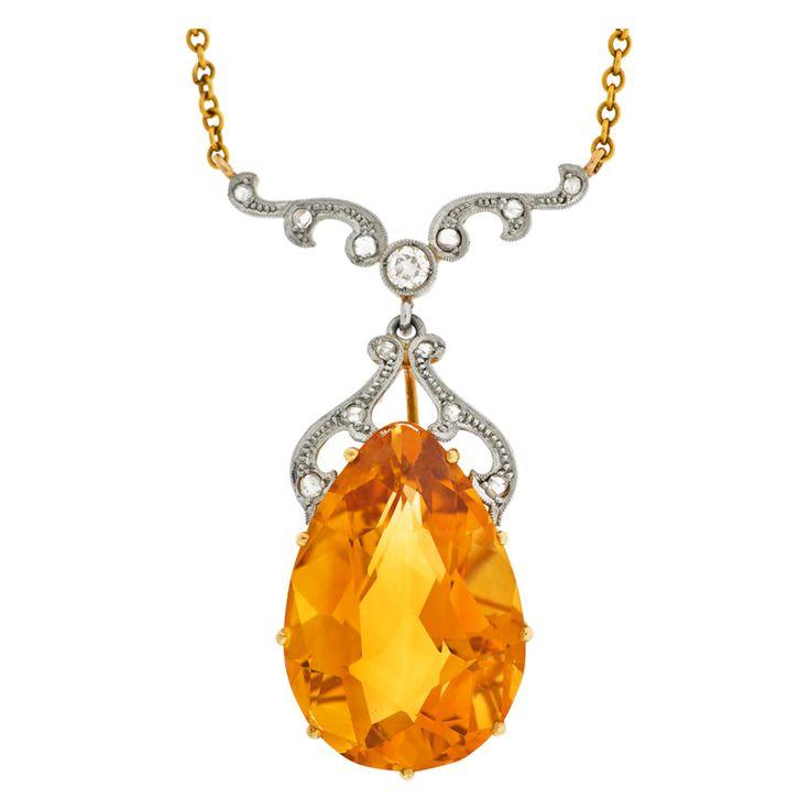Late Art Deco Citrine Drop & Diamond Gold Necklace