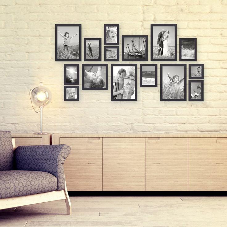 15er Set Bilderrahmen Schwarz Modern Massivholz Größen 10x10, 10x15, 13x18, 20x20, 20x30 cm, inkl. Zubehör, zur Gestaltung einer Bilderrahmen Collage / Bildergalerie – Bild 1