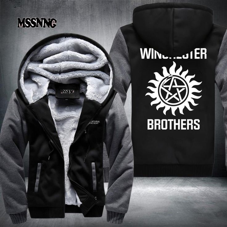 2017 New style Supernatural Zip Hoody fashion Hooded Jacket Thick Coats hoodie Winchester Brothers USA Size fast ship #Affiliate