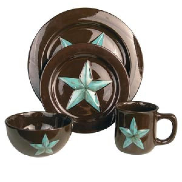 Turquoise and brown dinner set