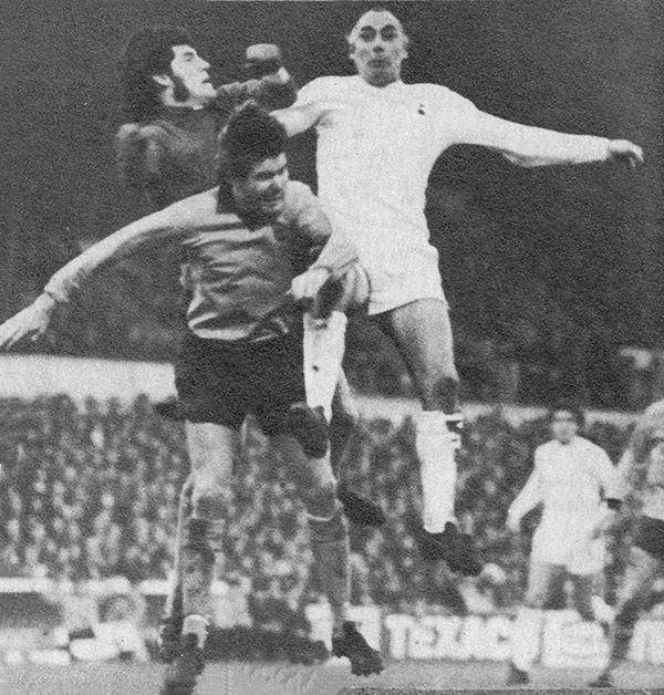 30th April 1973. Wolverhampton Wanderers goalkeeper Phil Parkes and defender Derek Jefferson challenged by Tottenham Hotspur striker Alan Gilzean, at White Hart Lane.