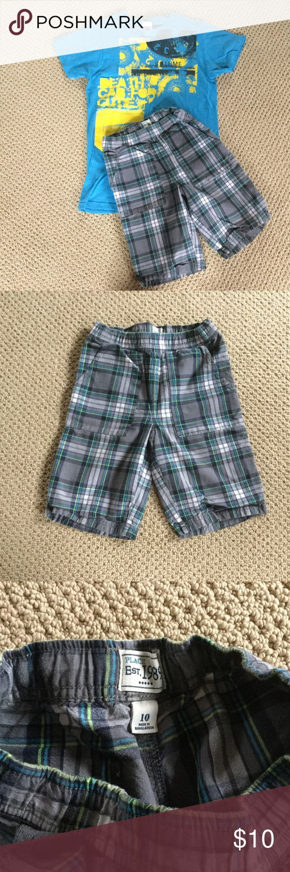Boy's Size 10 outfit. Old Navy Size 10 adjustable waist shorts.  Bay Island T-shirt size S (approximately size 10-12).  In good condition. Old Navy Bottoms Shorts