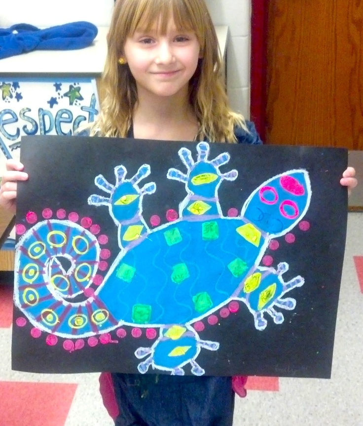 Art with Mrs. Seitz: 3rd Grade Aboriginees use dots to create implied lines and pictures. X-ray paintings are often found on cave walls. These paintings show both the outside and the inside of the the animal at the same time. We finished our designs with dots using short dowel rods! Learning Goals: The learner will... - describe key characteristics of Aboriginal art - use x-ray painting concepts - create a dot painting that emphasizes line