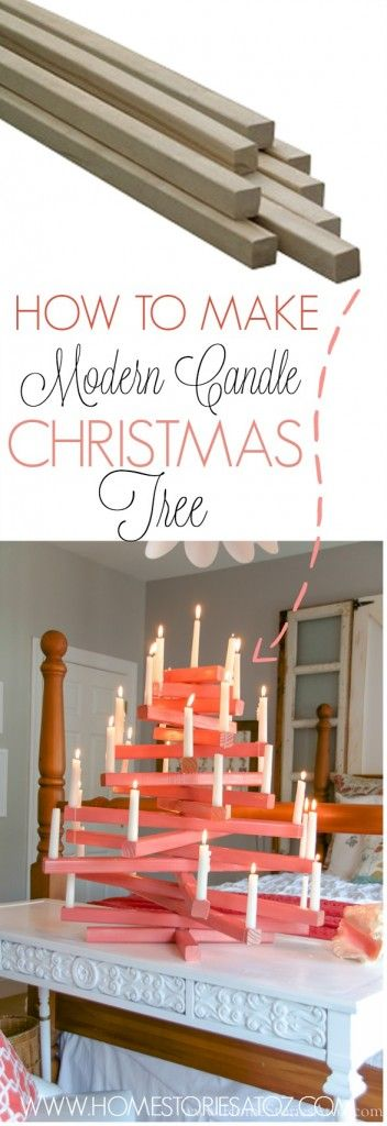 How to make modern candle christmas tree. Easy build. Click for full tutorial.