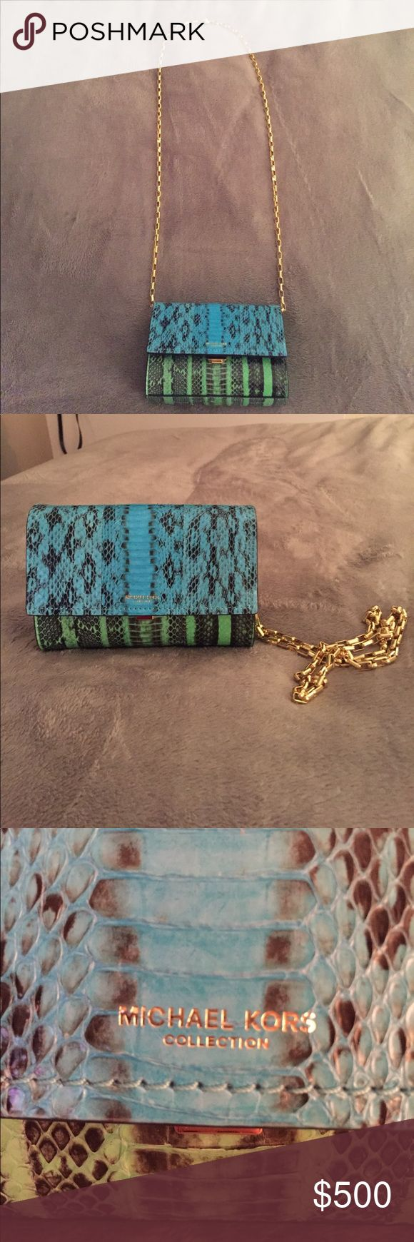✨Make an offer!✨Michael Kors Collection Yasmeen ELIGIBLE FOR POSH CONCIERGE! One of a kind green and blue color way, never produced! Bag never worn! 100% genuine python. Goat Suede lining. Michael Kors Bags Crossbody Bags