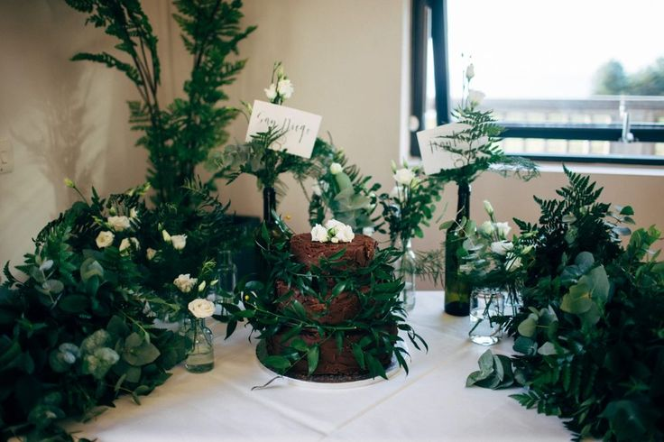 chocolate Wedding Cake | Dale Weeks Photography | Stylish Welsh Wedding | Emma Beaumont Wedding Dress | Mis-Match High Street Grey Bridesmaid Dresses | Green Foliage Bouquets
