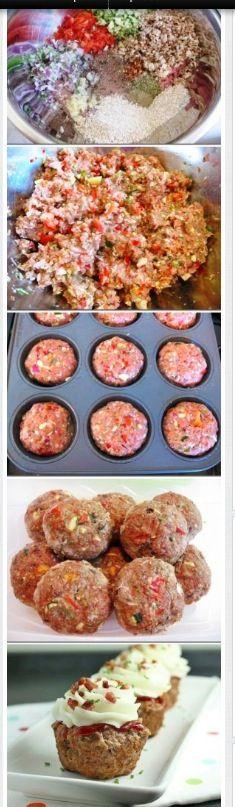 Gehakt muffin met aardappelpuree toef