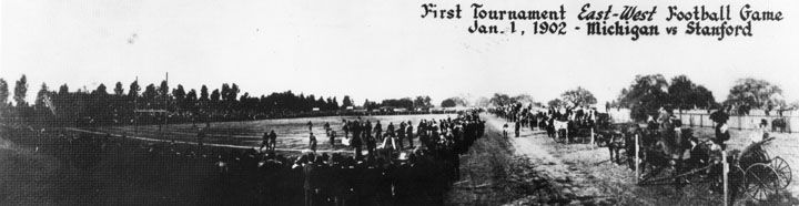 Jan. 1, 1902 – The first American college football bowl game, the Rose Bowl between Michigan and Stanford, is held in Pasadena, California.  Read the history of the Rose Bowl - click pic.