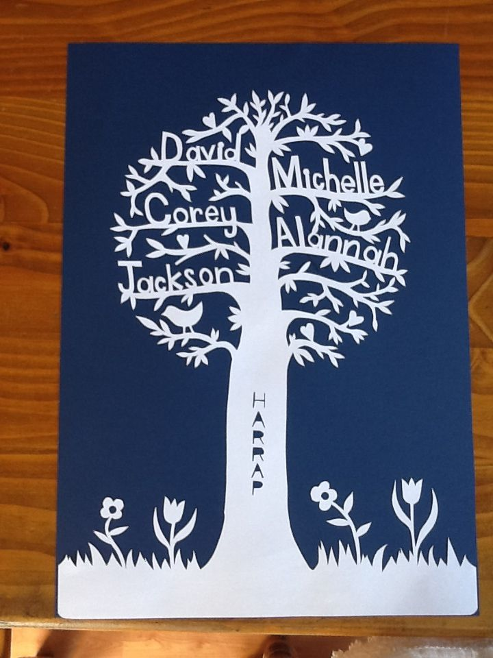 A3 size personalised handcut paper tree