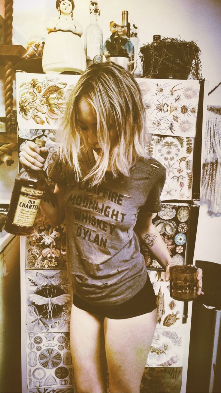 our adorable friend leah hoffman rocking her slashed dylan tee with some boy shorties & whiskey...