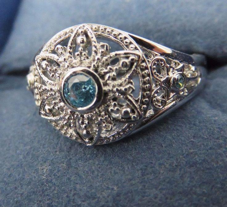 Disney Frozen Snowflake Bradford Exch Diamonesk Ring Size 7 Let it Go Sterling  #BradfordExchange #Dome
