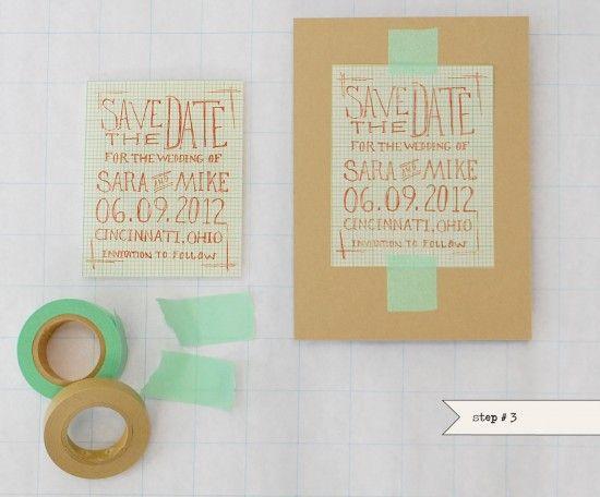 washi tape DIY wedding invitations kraft brown mint
