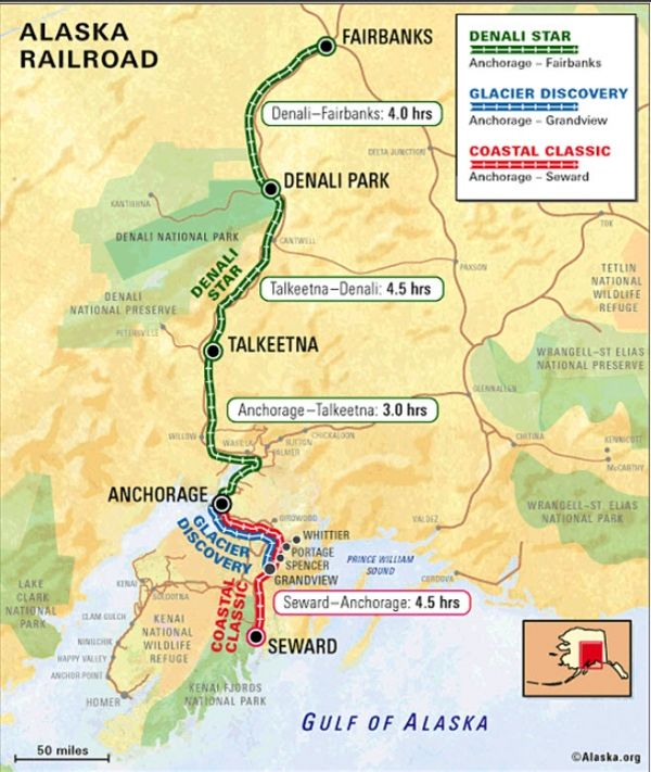 The train is a great way to see Alaska. Check out our map of all the railroad routes.