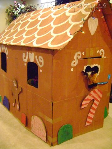 Last year I stumbled upon this great idea at Alpha Mom to make a life size cardboard gingerbread house for the kids. I thought it would be great as a playhouse in the basement over the holidays, a...