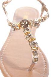 Glam Girl Jeweled Thong Sandal - Gold