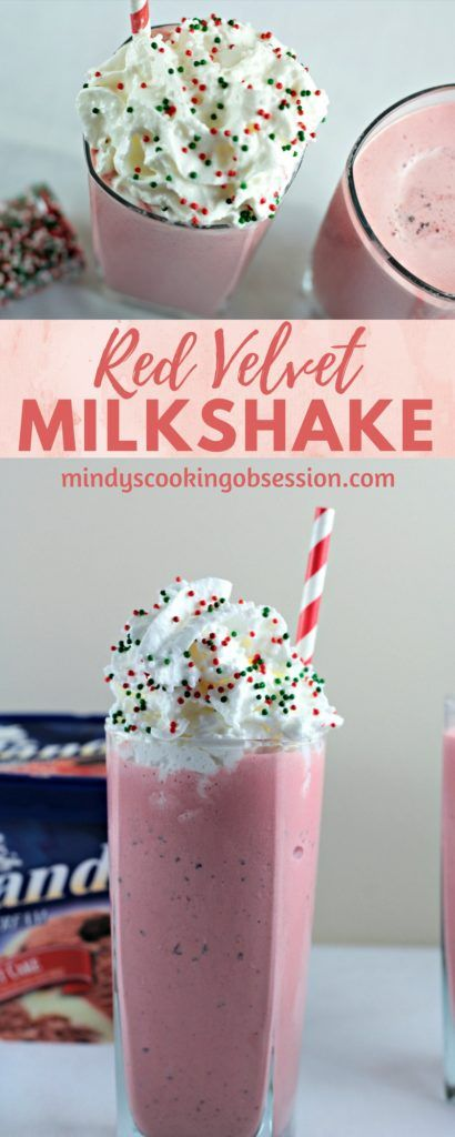 Red Velvet Milkshake combines ice cream and milk to make a delicious and creamy homemade shake. Top with whipped cream for a restaurant style treat!