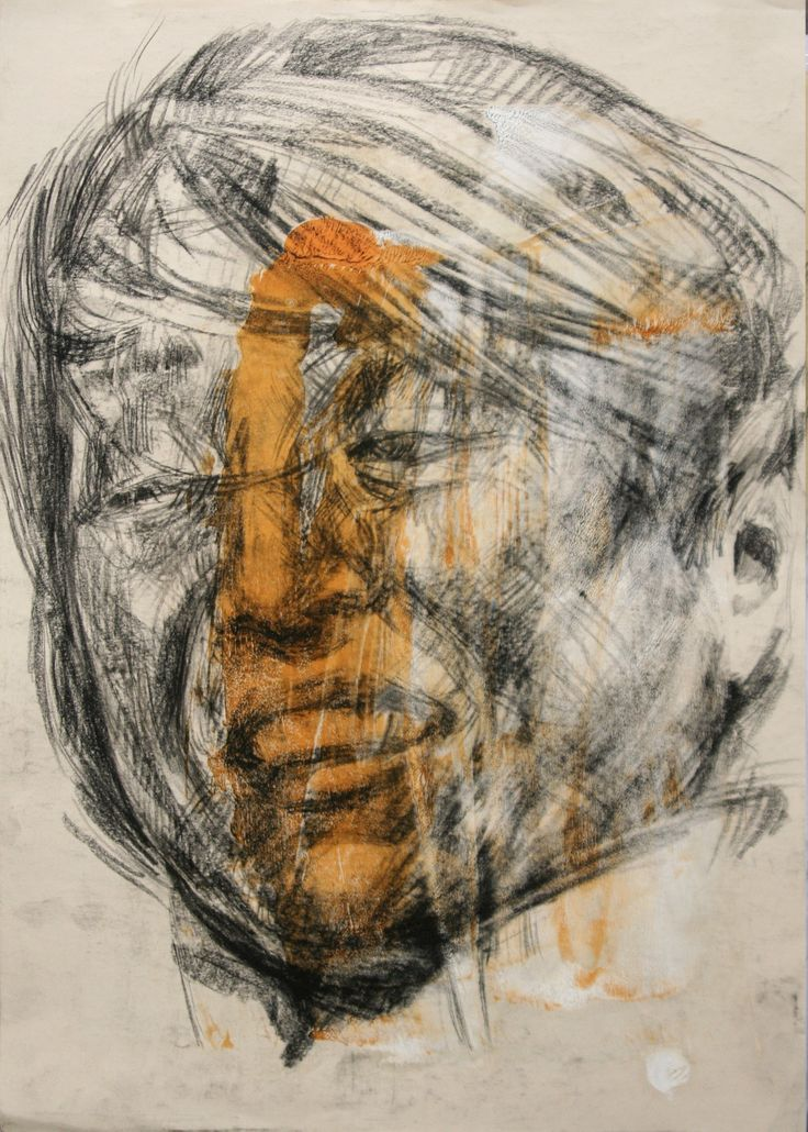 artwork by Ali pirooz .mixed media on paper. 29.5x42 cm. 2011 Drawing Portrait , oil and conte charcoal