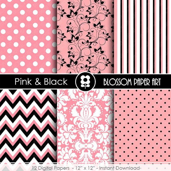 Pink and Black Paper Pink Digital Paper Pack Damask