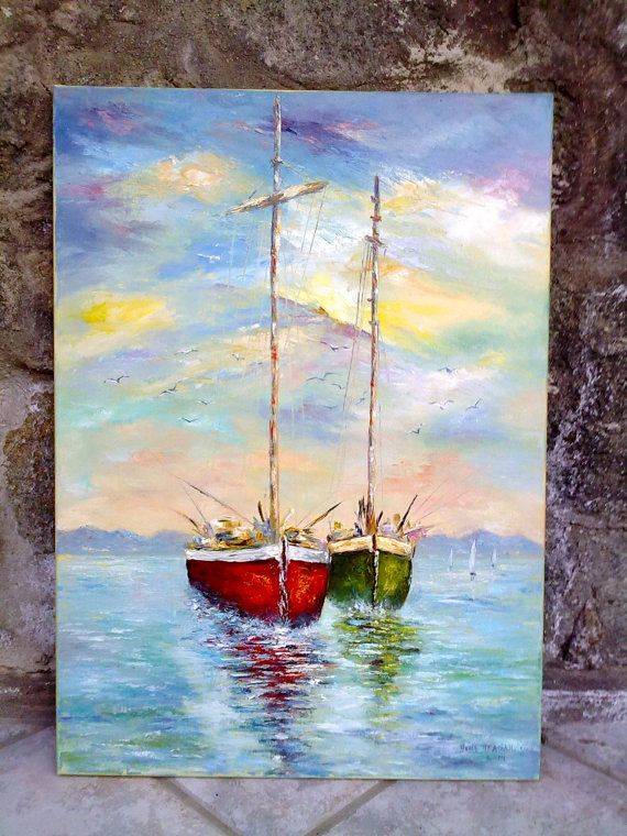 Oil painting on canvas 'Two in love boats' Original by StyleByDona, €1500.00