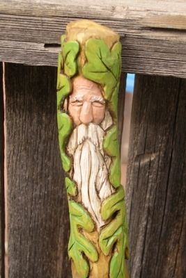 Greenman Walking Stick - broom handle inspiration - could use polymar clay and apply