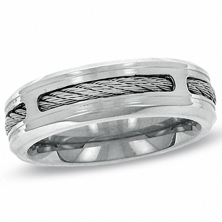 Triton Mens 80mm Comfort Fit Stainless Steel Cable Wedding Band