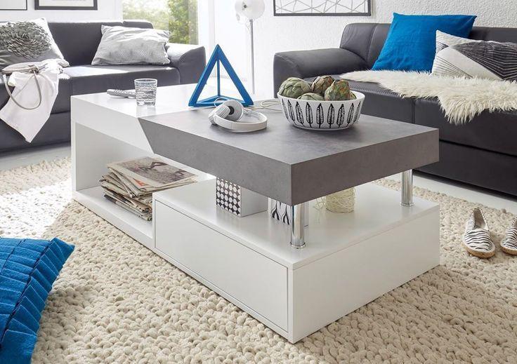 Couleur Parfaitement Assortie Avec Le Decor Gris Blanc Correspond A Notre Table Basse H En 2020 Table De Salon Table Basse Table Basse Design