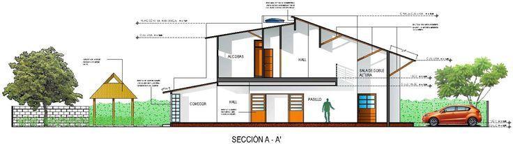 Casa G+A : Sección A-A' / G+A House: A-A' section