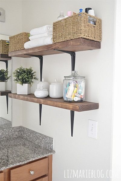 DIY rustic bathroom shelves. So easy & provides extra storage!! - lizmarieblog.com