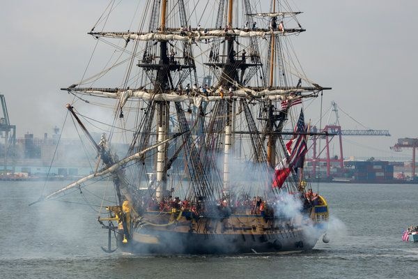 The Hermione Sails Into New York Harbor, Cannons Blazing - The New York Times  After passing Governors Island, the Hermione sent a round of cannon blasts echoing off the buildings of Lower Manhattan Credit Richard Perry/The New York Times