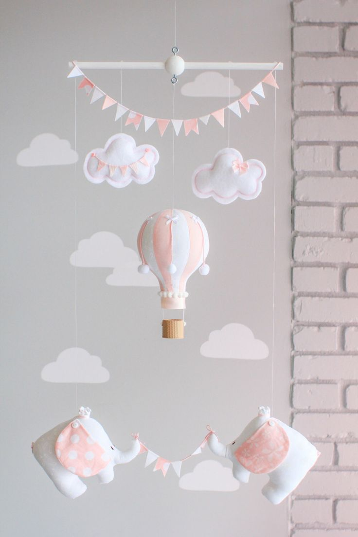 Pink and White Baby Mobile, Hot Air Balloon, Travel Theme, Elephants, Nursery Decor, i85 by sunshineandvodka on Etsy https://www.etsy.com/listing/229402591/pink-and-white-baby-mobile-hot-air