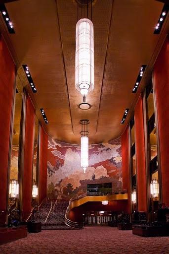 Radio City Music Hall Interior.  Lobby.  NEW YORK CITY.