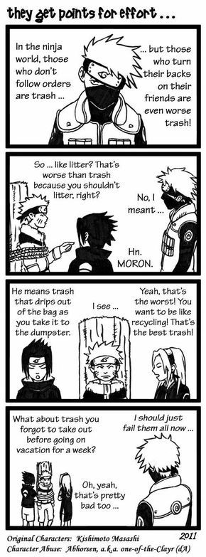 They get points for effort..., text, comic, funny, Team 7, Kakashi, Naruto, Sasuke, Sakura, tree stump, tied, rope, trash; Naruto