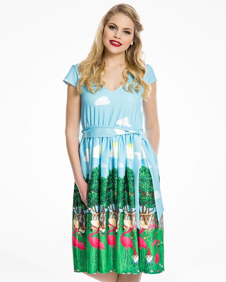 Doreen Flamingo Garden Print Swing Dress | Vintage Style Fashion | Lindy Bop