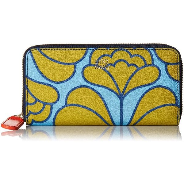 Orla Kiely Damask Flower Textured Vinyl Big Zip Wallet (2.605 CZK) ❤ liked on Polyvore featuring bags, wallets, zip close bags, yellow bags, orla kiely bags, zipper bag and zip wallet