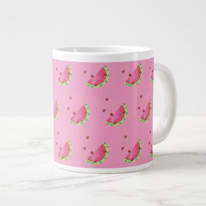 Lady Bug's Watermelon (pink) coffee mug - coffee custom unique special