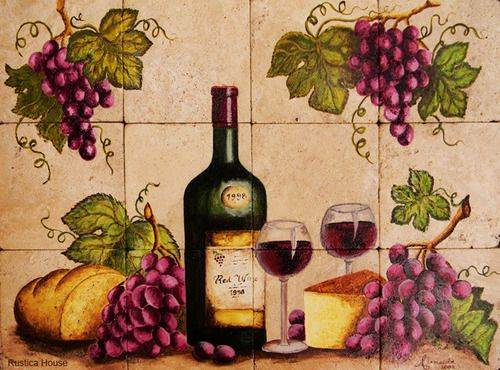 """A rustic tile mural looks pretty on a kitchen wall backsplash, bathroom wall or table-top. Wineglass mural sku 19077 is available in made to order dimensions. rustic tiles can be also installed in swimming pools, fountains and outside of the buildings. Tile Mural """"Wineglass"""" by Rustica House. #myRustica"""