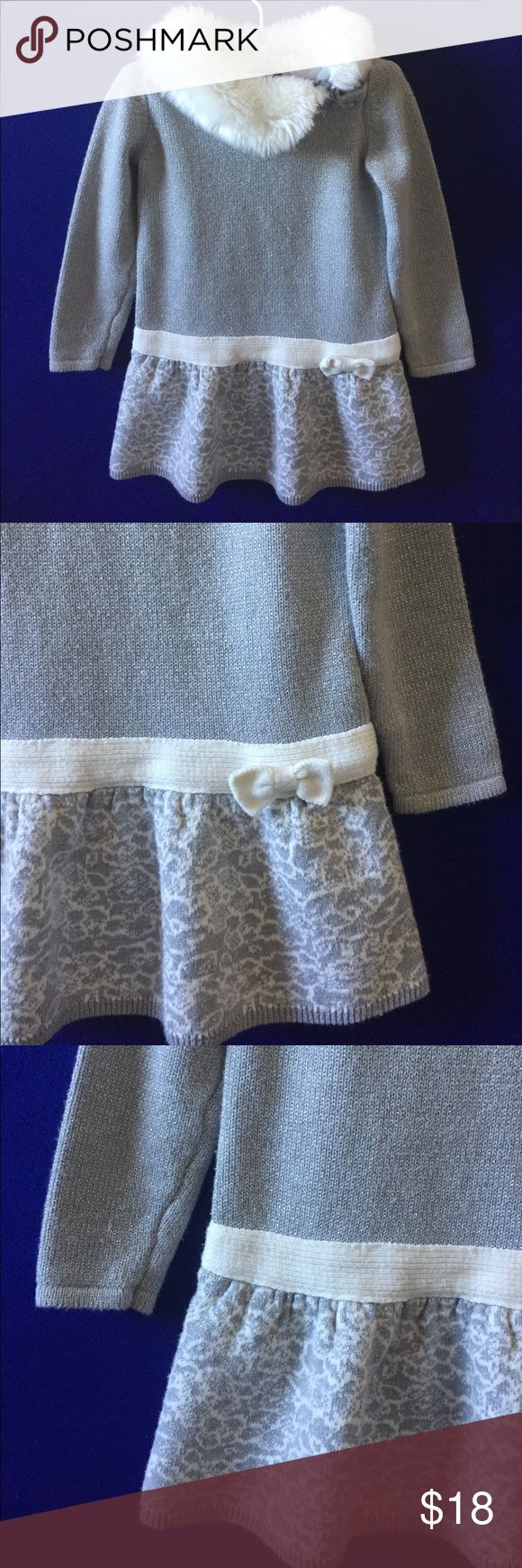 Cynthia Rowley 24M Knit Girls Dress Fur Collar Adorable knit dress from Cynthia Rowley for a girl 24M. In excellent condition, no stains or rips. The fur collar is cute and the Knit overall has silver stands. Very festive Cynthia Rowley Dresses Formal