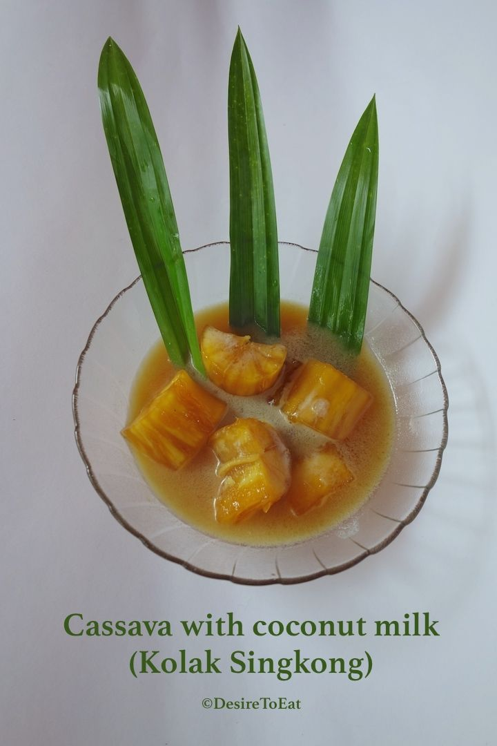 Cassava compote with coconut milk - Indonesian dessert (kolak pisang)