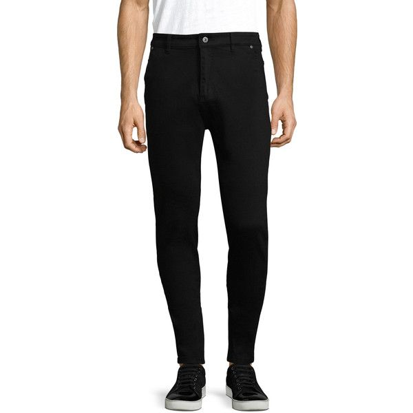 Zanerobe Men's Sharpshot Tapered Cuffs Cotton Skinny Jeans - Black,... ($79) ❤ liked on Polyvore featuring men's fashion, men's clothing, men's jeans, black, mens skinny jeans, mens drop crotch skinny jeans, mens drop crotch jeans, mens cotton jeans and mens zipper jeans