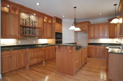 Large, spacious kitchen. Lots of cabinet space, hardwood floors and island.