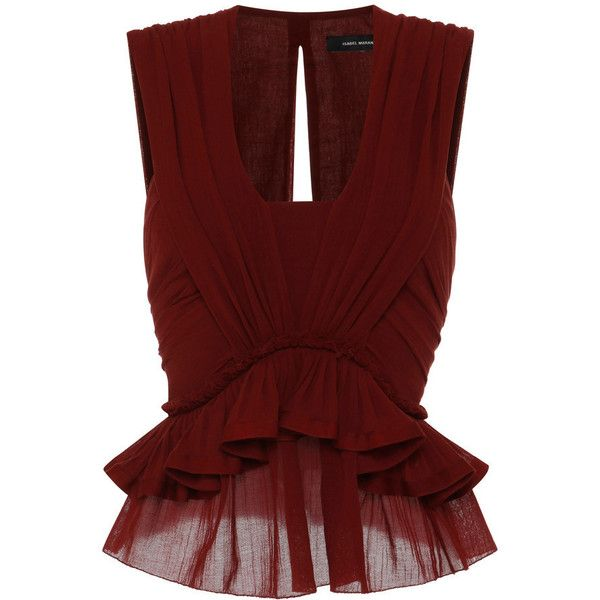 Isabel Marant Cotton Gauze Grayton Top In Rust found on Polyvore featuring tops, peplum tops, gauze tops, red top, red sleeveless top and low v neck tops