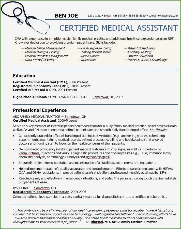 10 Exceptional Medical assistant Resume Template in 2020