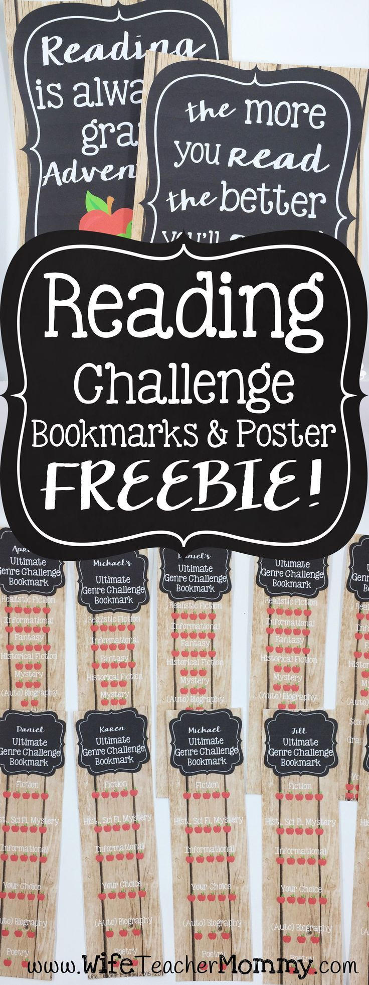 Grab these FREE Editable reading challenge bookmarks for your classroom! Perfect for getting your students to read a variety of genres. Great for back to school! A reading challenge poster is included as well. http://www.wifeteachermommy.com/2016/07/the-s