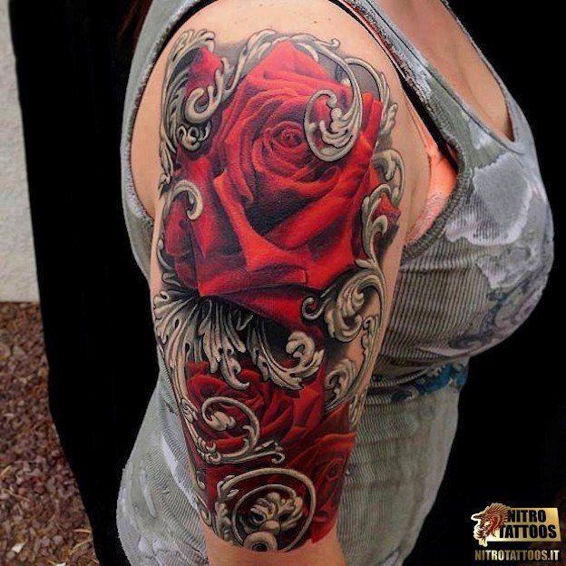 tatuaggi rosa rossa