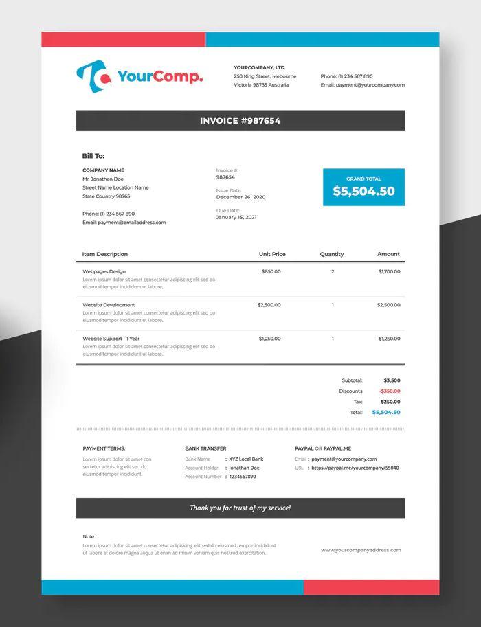 Simple Invoice Template Psd Invoice Template Invoice Templates Simple Invoice