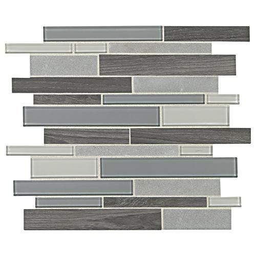 Menards Backsplash To Incorporate Greys And Tans Together Stone Mosaic Tile Glass Backsplash Stone Mosaic