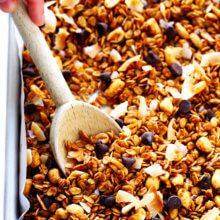My favorite homemade peanut butter granola recipe! It's quick and easy to make, it's naturally sweetened with honey, and it's ridiculously,irresistibly, completely delicious. Feel free to add in chocolate chips if you'd like! Ever since our wedding day, this handsome husband of mine has been waking up a few minutes early eachmorning to brewus up …