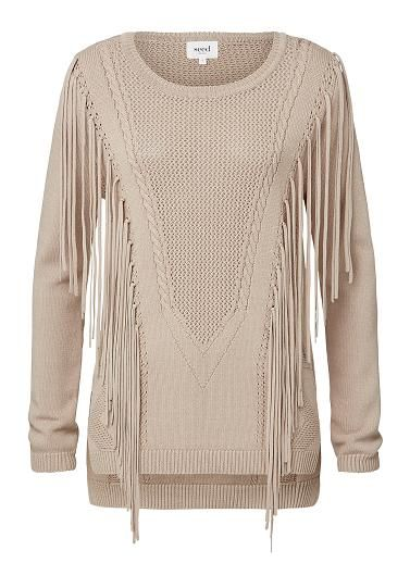 Viscose/Nylon Crepe Fringe Front Sweater. Comfortable fitting silhouette features a scoop neck, long sleeves and dipped hem complete with fringe detail at front body in an all over crepe knit fabrication. Available in Cream and Mushroom as shown.