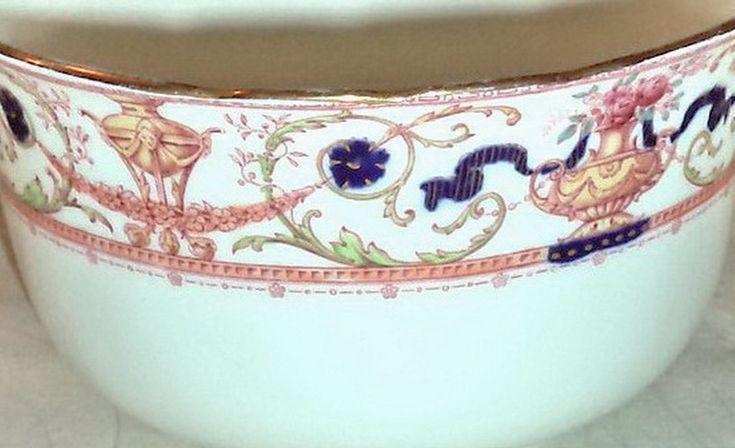 Antique Doulton Burslem Signed Ruffled Bowl Vase Rare c1886 Gilt Floral Pink Blue Hand Painted Urn Garland Porcelain Victorian Gift Decor by MushkaVintage3 on Etsy