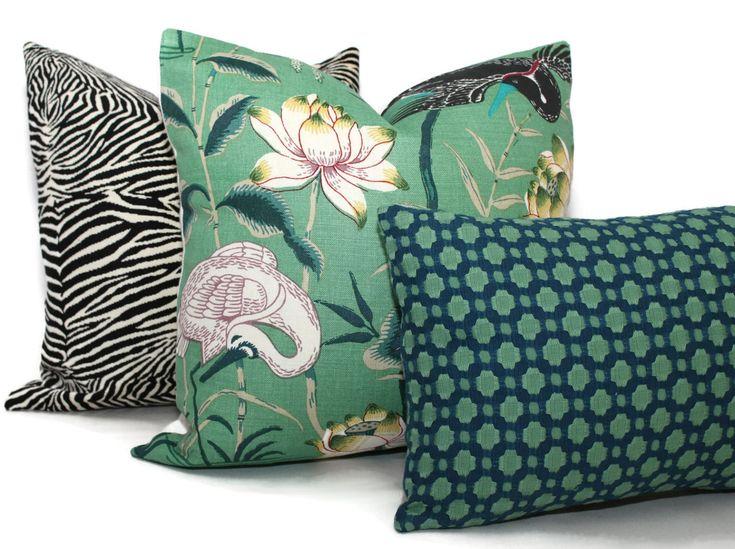 Jade Lotus Garden Decorative Pillow Cover 18x18 20x20 22x22